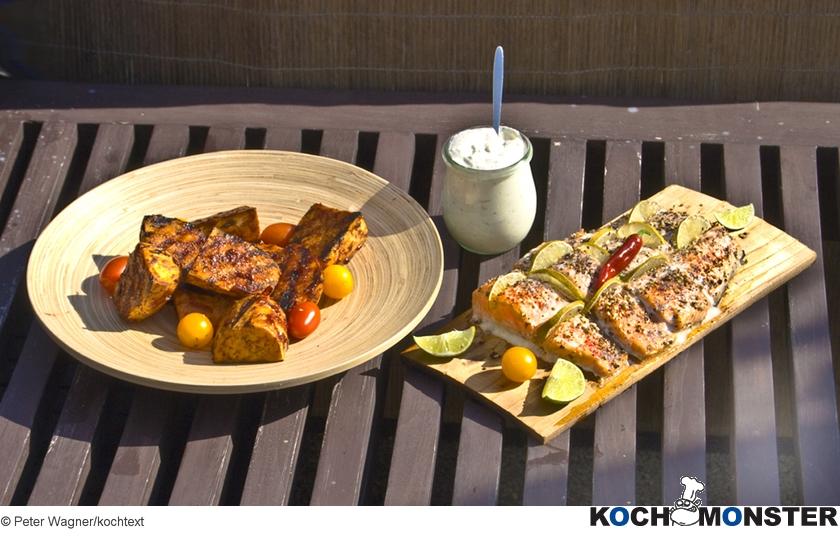 Lachs Auf Der Grillplanke Mit Cranberry Süßkartoffeln Kochmonster